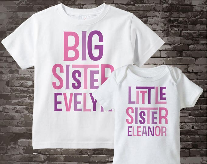 Big Sister Little Sister Outfit Shirt set of 2, Sibling Shirt, Personalized Tshirt with Pink and Purple Letters 12082011d