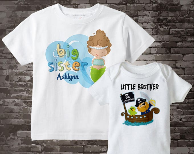 Personalized Boys and Girls Set Of Two Big Sister Mermaid and Little Brother Pirate Tees or Onesies 09172012b