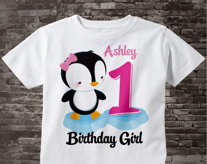 Girl's First Birthday Penguin Shirt Personalized Birthday Girl Penguin Theme Tee Shirt or Onesie 01172014c