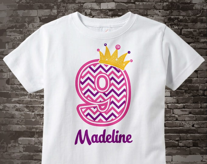 Ninth Birthday Shirt, Pink Chevron 9 Birthday Shirt, Any Age Personalized Girls Birthday Shirt Pink Age and Name Tee for kids 04032015c
