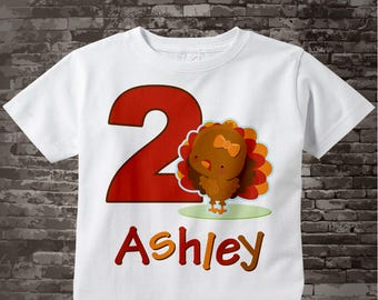 Girl's Thanksgiving Personalized Second Birthday Turkey Tee Shirt or Onesie, 2nd Birthday Thanksgiving Theme Tee Shirt, Any Age 11042013c