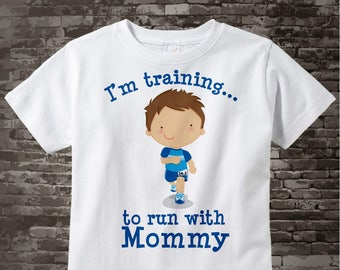 Personalized I'm Training to Run with Mommy Children's Tee Shirt or Onesie Marathon Distance 07182014c