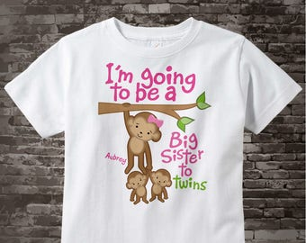 I'm going to be A Big Sister to gender neutral Twins, Shirt or Onesie, Big Sister Monkey, Personalized Big Sister 03062014f