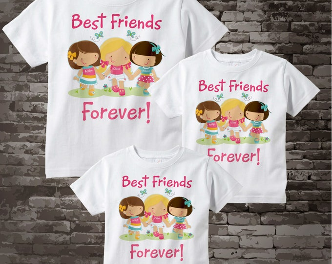 Set of Three, Best Friends Tee Shirts or Onesies. Three Little Girl Best Friends 08252014b