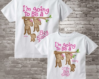 Set Of Two I'm Going To Be a Big Sister Again and Little Big Sister with cute monkeys 12312013g