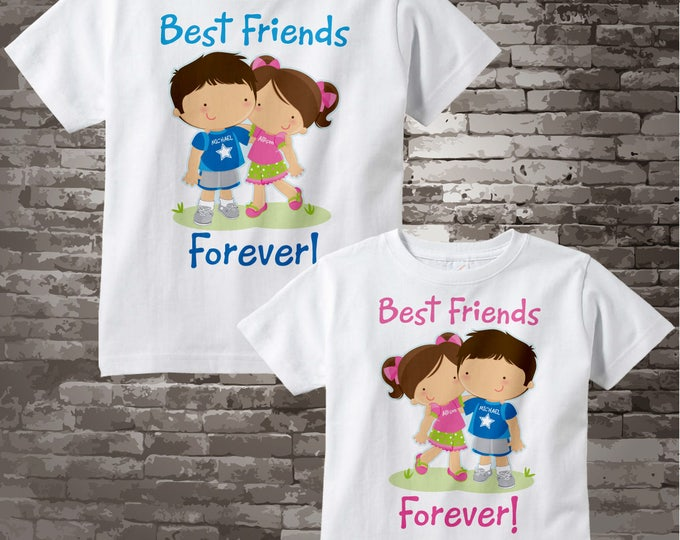 Set of Two, Personalized Best Friends Forever Shirt or Onesie with Boy and Girl Best Friends 10042013j