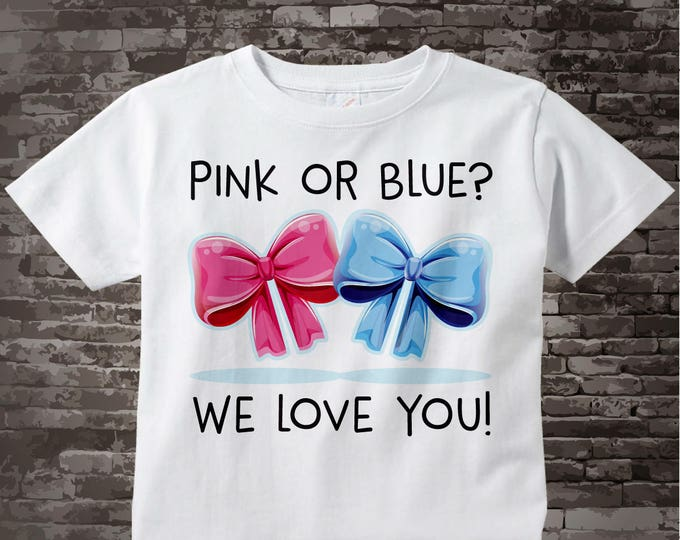 Pink or Blue We Love You Shirt or Onesie Bodysuit | Not Revealing Gender Announcement Shirt | 06302017b