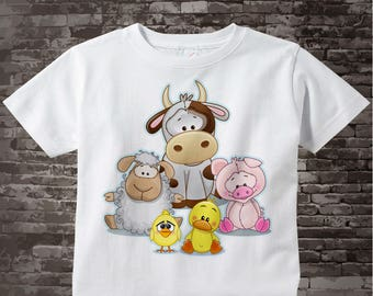 Kids Farm Animal Shirt or Onesie Bodysuit | A cute group of farm animals including a cow, sheep, pig, duck and chicken| 02172017e