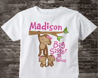 Big Sister to Twin Girls Shirt or Onesie, Monkey Shirt, Big Sister Monkey with twin girl babies, Personalized Big Sister 04142014c