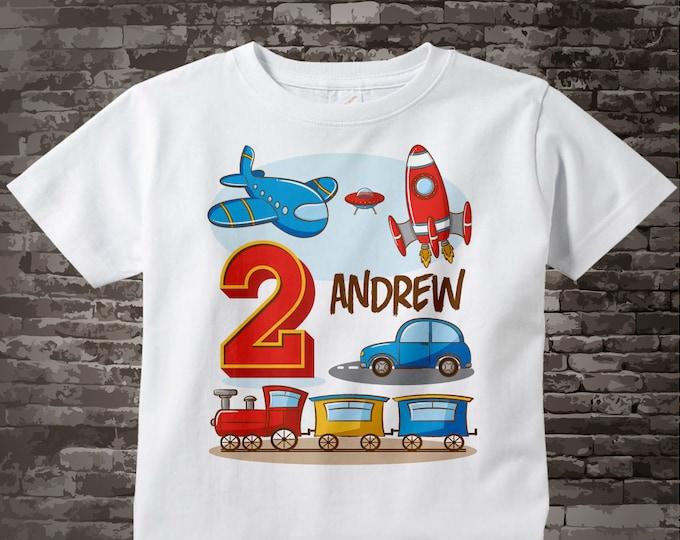 Transportation Birthday shirt - Birthday Boy shirt - Plane Train Automobile Rocket Space Ship Transportation birthday party theme 02202016a