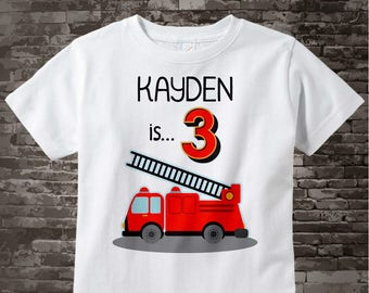 Birthday Boy Shirt - 3rd Birthday Fire Truck Shirt, Personalized Boys Third Birthday Shirt with Child's Name and age 07252017a