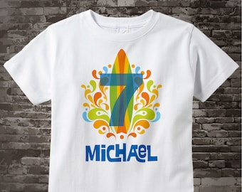 Boy's Seventh Birthday Surfing Big number 7 Shirt Personalized Birthday Boy Theme Tee Shirt or Onesie 05062015e