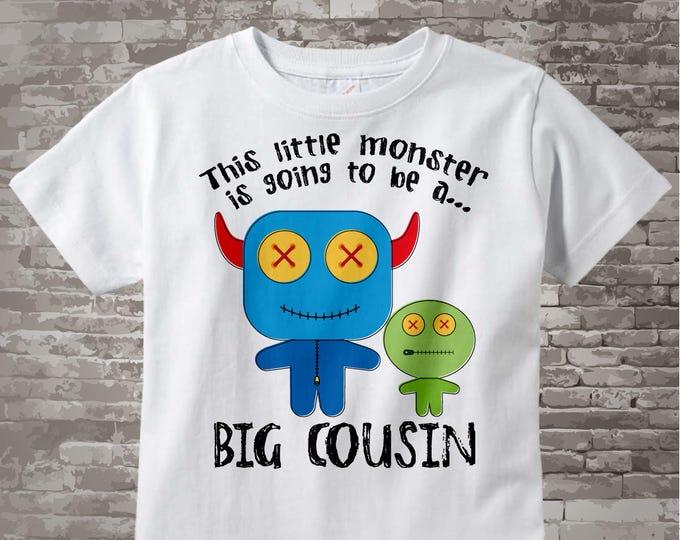 Boy's, This Little Monster is Going to Be A Big Cousin Shirt or Onesie, Monster Shirt with Unknown Gender Baby 02062014c