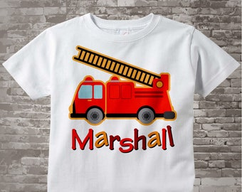 Boy's Fire Truck Shirt, Personalized Fire Truck Fireman Shirt Onesie or Tshirt with childs name 10282010a