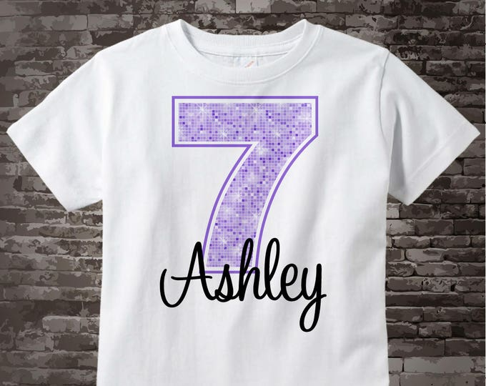 Seventh Birthday Shirt, Light Purple 7 Birthday Shirt, Any Age Personalized Girls Birthday Shirt Light Purple Age and Name 03052014b