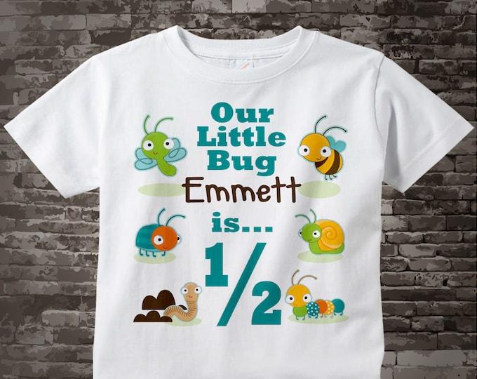 Boy's 6 month Old Bug Birthday Shirt or Onesie with Name, 6 month Birthday Shirt, Personalized Bug Birthday Theme 07152015t