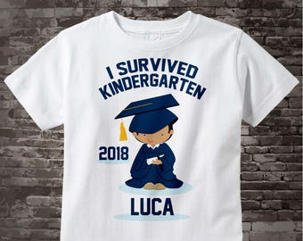 Personalized I Survived Kindergarten Shirt Kindergarten Graduate Shirt Child's Back To School Shirt 06022014a