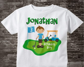 3rd Birthday Golf Theme Shirt Personalized Third Birthday Boy Golfer Tee Shirt 02022014b
