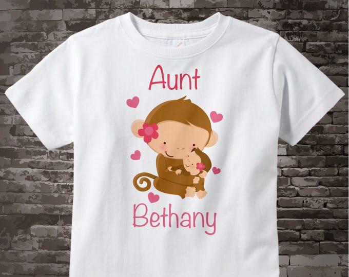 Aunt Shirt - Aunt Gift - Aunt Announcement Shirt - Aunt Outfit top - Monkey 01132016g