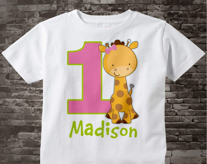 Personalized FIrst Birthday Giraffe Tee Shirt or Onesie with pink and green colors, 1st Birthday Giraffe tee, Safari Theme 07142017b
