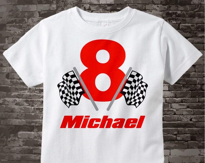 8th Birthday Checkered Flag Racer Eighth Birthday Shirt or bodysuit, Personalized Birthday Boy Racing Theme Tee Shirt or Onesie 07232014c