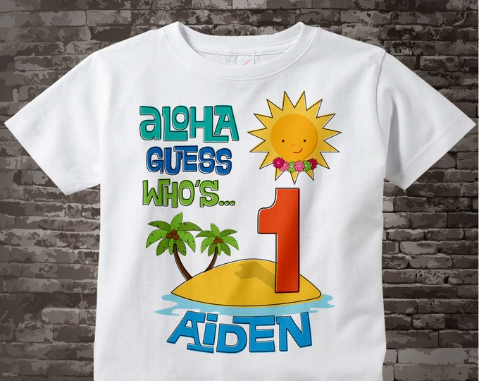 First Birthday Tee Shirt, 1st Birthday Shirt, Personalized Boy's Hawaiian Luau, Age and Name Tee or Infant Onesie for kids 11292012a