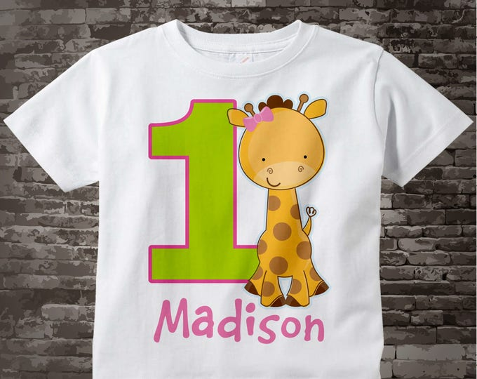 Personalized FIrst Birthday Giraffe Tee Shirt or Onesie with pink and green colors, 1st Birthday Giraffe tee, Safari Theme 07122017c