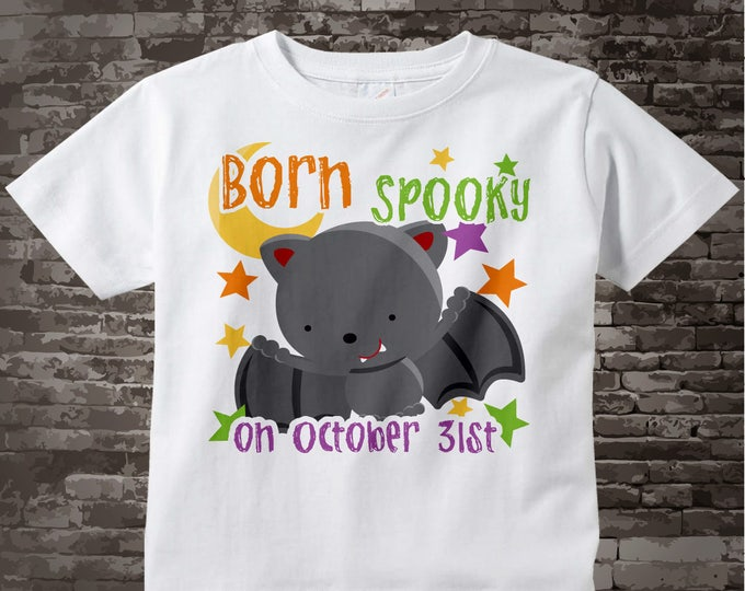 Halloween Birthday Shirt | Cute Born on Halloween Shirt with Vampire Bat 09242010j