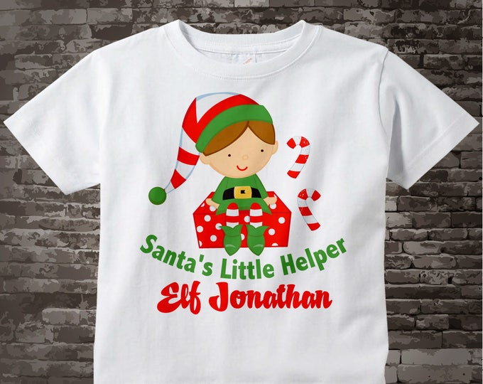 Boy's Christmas Shirt, Elf Shirt, Santa's Helper Shirt, Personalized Santa's Little Helper Elf Tee Shirt or Onesie 11292010a