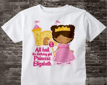 African American Princess Birthday T-shirt or Onesie Bodysuit for 2 year old girl 07022012e