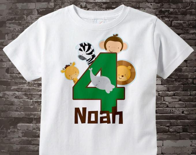 Boy's Four Year Old Jungle Birthday Shirt with Name, Fourth Birthday Shirt, Personalized Jungle Birthday Theme 05212014dz