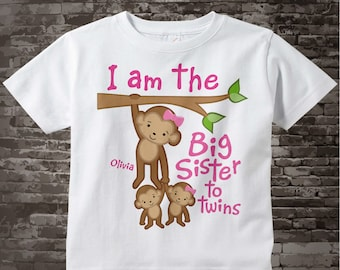 I am the Big Sister to Twins Shirt or Onesie, Monkey with twin babies 1 girl 1 boy Personalized Big Sister with Monkeys 07192017d