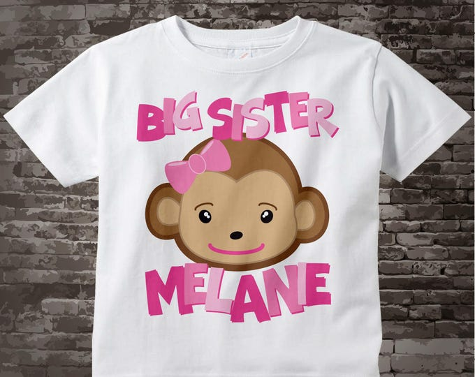 Big Sister Monkey Onesie, Big Sister Monkey Shirt, Personalized Big Sister Monkey Tee Shirt or Onesie 02202012a