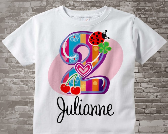 Second Birthday Shirt, Fancy Number 2nd Birthday Onesie, Personalized Girls Birthday Onesie, Two Year Old for kids 12082011f