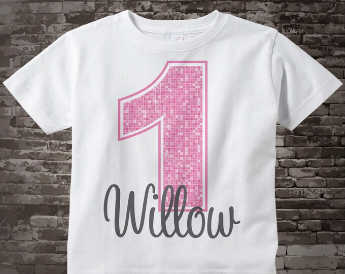 First Birthday Shirt, Light Pink 1st Birthday Shirt, Personalized Light Pink Age and Name in grey for kids 02272014b