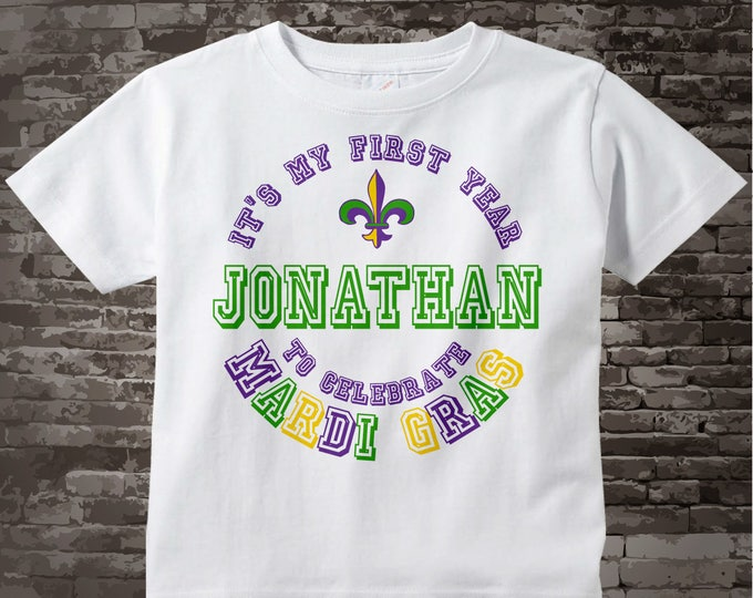 First Mardi Gras Shirt, Personalized 1st Mardi Gras Shirt or Onesie, Mardi Gras Shirt for Toddlers and Kids02072012d