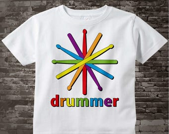 Drummer T-shirt or Onesie Bodysuit for children with Rainbow color drumsticks and the word drummer 06292011j