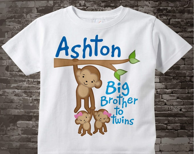 Boy's Big Brother to Girl Twins Monkey Shirt or Onesie with twin Baby Monkeys, Personalized Pregnancy Announcement  02042014g