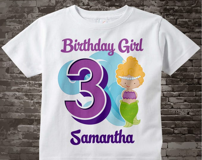 Third Birthday Shirt, Mermaid 3 Birthday Shirt or Onesie, Any Age Personalized Shirt Purple Age and Name Tee for kids | 03132017a
