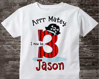 Pirate Birthday T-Shirt or Onesie Bodysuit for 3 year old boy | Personalized 06082017b