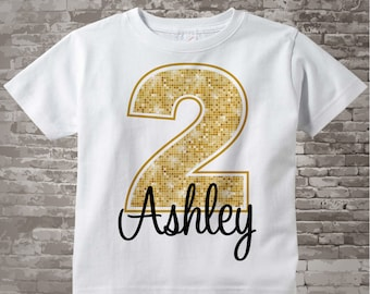Second Birthday Shirt, Golden 2 Birthday Shirt, Personalized Girls Birthday Gold Color Age and Name Tee or Infant Onesie 10022013az