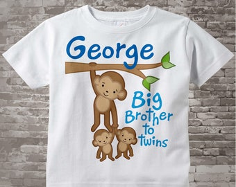 Boy's Big Brother to Twins Monkey Shirt or Onesie with twin Baby Monkeys, Personalized Pregnancy Announcement  01092014b