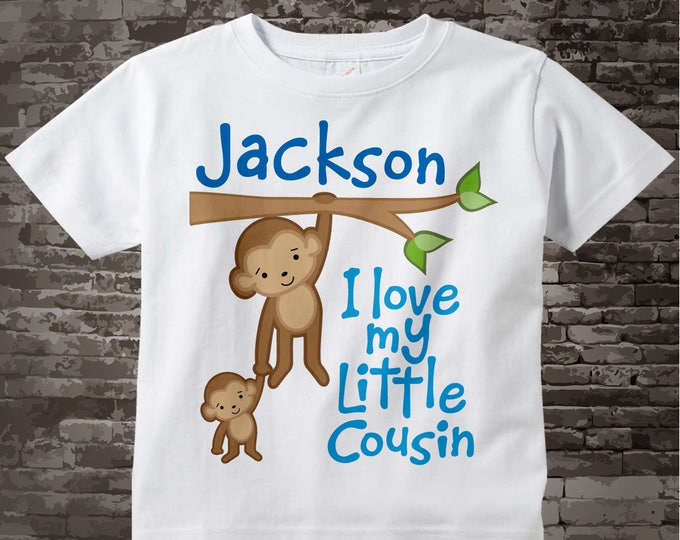 Personalized I Love My Little Cousin Tee Shirt or Onesie with cute Monkeys 06032012b