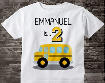 Birthday Boy Shirt - 2nd Birthday School Bus Shirt, Personalized Boys Second Birthday Shirt with Child's Name and age 01052016h