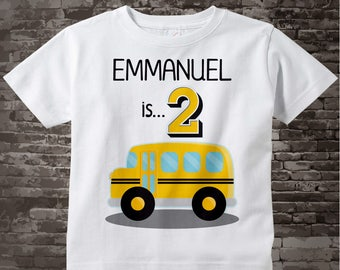 Birthday Boy Shirt - 2nd Birthday School Bus Shirt, Personalized Boys Second Birthday Shirt with Child's Name and age 01052016hz
