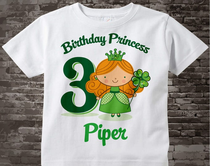 Irish Princess Birthday Tee Shirt or Onesie | any age | Personalized with any name  or hair color | 01212013a
