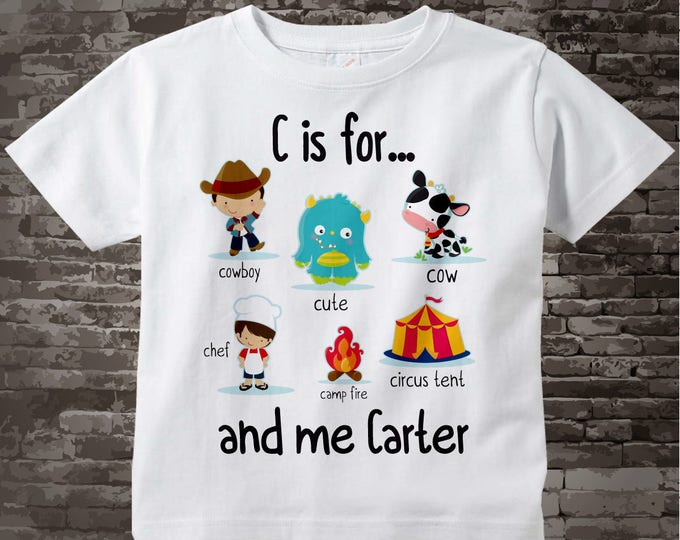 Boy's Personalized C is for Shirt or Onesie Personalized with childs name with everything that starts with C, alphabet learning 09042014e