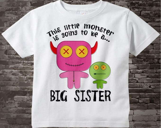 Monster Big Sister T-shirt or Onesie Bodysuit with Pink and Green Monsters 11012011a