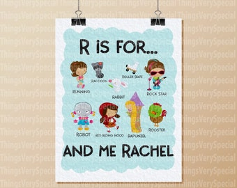 Alphabet Print, Children's Room Art Prints, for girls whose name starts with R. Alphabet learning prints. 09202019b