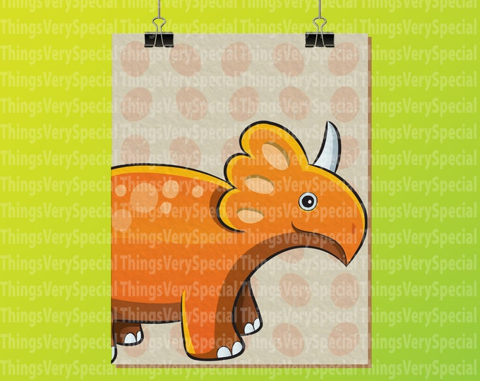 "Dinosaur Art Print, Children's Room Art Prints, Triceratops Dinosaur Art Print. 8.5"" x 11"" Art Print for Children's Room. 09242019a"